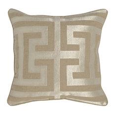 """Kosas - Kosas Carly Embroidered 22"""" Throw Pillow, Pearl - Decorative Pillows"""