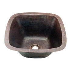 """Copper Crafted Hammered Square Bar or Prep Sink With Straight Sides, 15"""""""