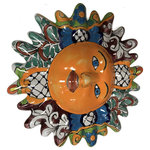 Fine Crafts & Imports - Multicolor Talavera Ceramic Sun Face - This is a handmade and hand-painted sun face with a multi-color pattern, very typical of Talavera ceramic. This ceramic sun face is just an example of the exquisite beauty the Mexican craftsmen put on each item they create. It is handcrafted and hand-painted, which means that no two sun faces are the same! There might be small differences in size, weight and even the paintings compared to the picture you are looking at.