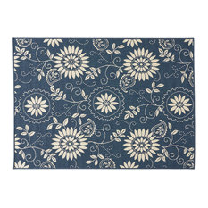"""Bubles Outdoor Botanical Area Rug, Blue and Ivory, 5'3""""x7'"""