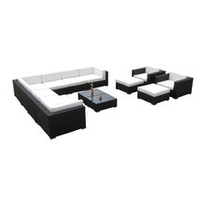 Outdoor Wicker 13-Piece Resin All Weather Sectional Couch Set