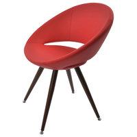 Crescent Star Dining Chair, Light Walnut Veneer Steel Base, Red Ppm