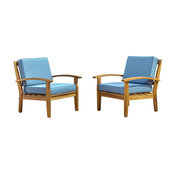 GDF Studio Preston Outdoor Wooden Club Chairs, Blue, Set of 2