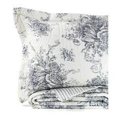 Toile Cotton Reversible Gray Quilt Set, Full/Queen