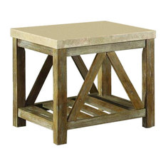 HomeleganceLA, Inc   Homelegance Ridley End Table With Marble Top In  Weathered Wood   Side