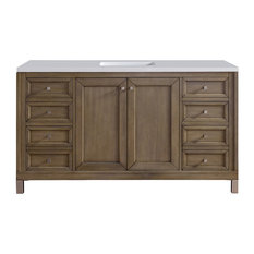 """Chicago 60"""" White Washed Walnut Vanity, 3cm Arctic Fall Top"""