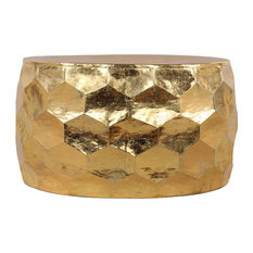 Hammered Gold Leaf Round Drum Coffee Table