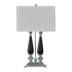 Double Socket Table Lamp, Brushed Steel With Black Accents, White Hardback Shade