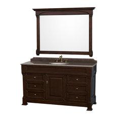 Andover 60-inch Dark Cherry SGL Vanity Imperial Brown Granite Top UM Sink Mirror