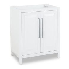 29-11/16-inchWhite Vanity Base With Polished Chrome Hardware And Clean Modern Lines