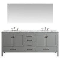 "Eviva Aberdeen 84"" Gray Transitional Double Sink Bathroom Vanity w/ White Carrar"
