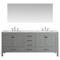 "Eviva Aberdeen 84"" Gray Transitional Double Sink Bathroom Vanity w/ White Carrar"