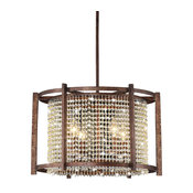 "Griselda Bronze Metallic 4-light Crystal Chandelier (19""Hx19""W) XTK-B501-PBD-209"