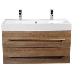 Emotion Sunrise Wall-Mounted Bathroom Vanity Unit, 100 cm, Light Oak Semi-Gloss
