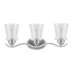 62117-1, 3-Light Metal Bathroom Vanity Wall Light Fixture, Satin Nickel