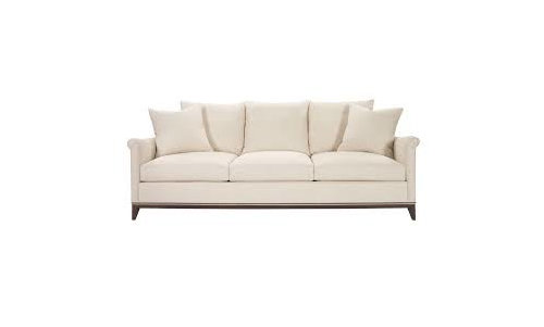 Mixing Leather Sofa And Fabric Skirted Chair