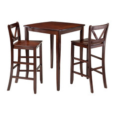 Winsome Wood Inglewood 3 Piece High Table With 2 Bar V-Back Stools