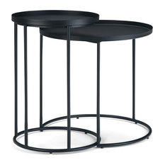 "Monet Modern Industrial 24"" Wide Metal 2 Pc Nesting Table, Black"