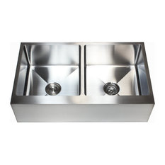 "36"" Stainless Steel Flat Front Farm Apron 50/50 Double Bowl Kitchen Sink"