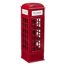 Southern Enterprises - Phone Booth Storage Cabinet, Burgundy Red - Storage Cabinets