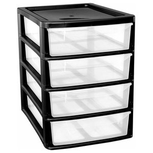 Modern Storage Unit with Black Plastic Frame with 4 Transparent Drawers