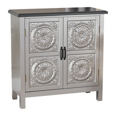 GDF Studio Aliana Shabby Painted Accent Cabinet, Silver/Charcoal Gray