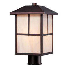 Tanner 1 Light Outdoor Post Fixture With Honey Stained Glass