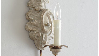White Scroll Wall Sconce - Horchow