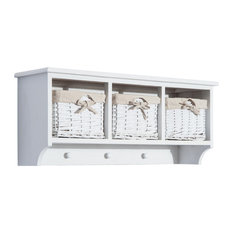 31 Hanging Entryway Cubby Storage Shelf With 3 Baskets and Hooks (White)