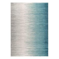"Striped Geometric Area Rug, Blue, 5'x7'5"""