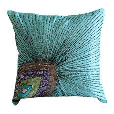 "Peacock Feather 26""x26"" Art Silk Aqua Blue Euro Sham Covers, Peacock Grace"
