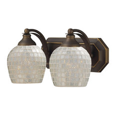 Elk Lighting Bath and Spa 2-Light Vanity, Aged Bronze and Silver Glass
