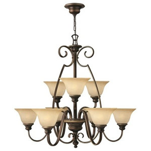 Traditional 9-Arm Chandelier, Antique Bronze Finish