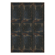 6' Tall Double Sided Black Door Canvas Room Divider