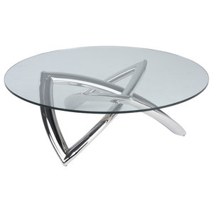 Martina Coffee Table, Round Glass Top, Polished Stainless Steel