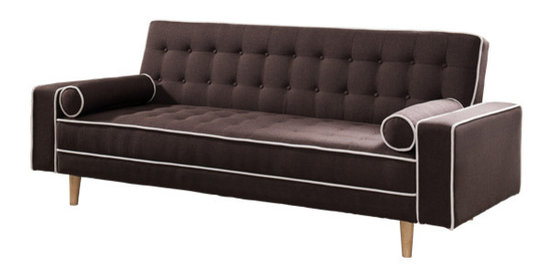 Castiel Futon Sofa Bed With Matching Bolsters Dark Brown