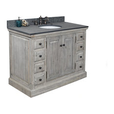 Single Fir Sink Vanity Driftwood With Polished Surface Granite Top 48-inch Gray