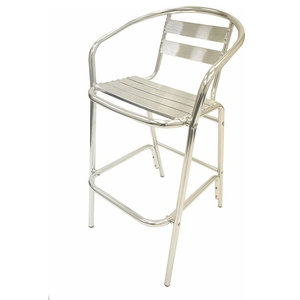 Contemporary Bar Stool, Aluminium Frame With Foot Rests, Silver Finish