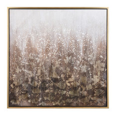 """Gray and Cream Abstract Hand Painted Canvas Art With Gold Frame, 40""""x40"""""""