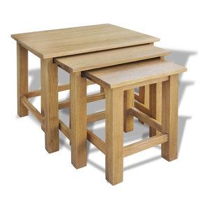 vidaXL 3-Piece Set Nest of Table, Oak
