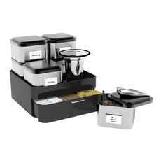 Loose Leaf Tea And Accessories Holder, 10 Piece Set, Silver/ Black