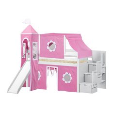 Jackpot - Jackpot Princess Twin Low Loft White Stairway Bed, Pink and White Tent and Slide - Loft Beds