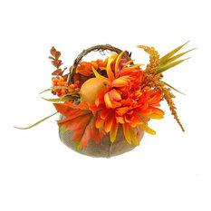 "9"" Autumn Harvest Burlap Pumpkin, Flowers and Fruit Thanksgiving Decoration"