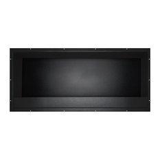 Built-In Black Steel Fireplace Insert, 126x52 cm
