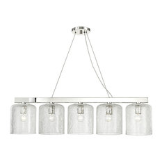 Charles 5-Light Island Light, Polished Nickel Finish, Clear Glass Shade
