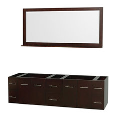 "79"" Double Vanity, Espresso, No Countertop, No Sink and 70"" Mirror"