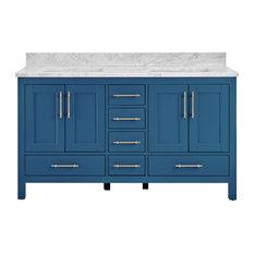 Kendall Blue Bathroom Vanity 60-inch Vanity With Carrara Marble Top
