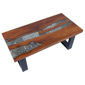 vidaXL Teak Resin Coffee Table, 100x50 cm