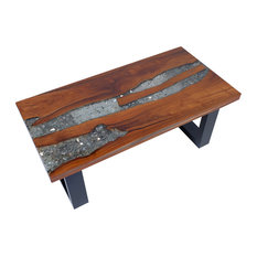 vidaXL Solid Teak Wood Coffee Table Side Resin Handmade Paint Finish End Couch