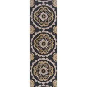 "Surya Mosaic MOS1063 Black/Brown Transitional Area Rug, Runner 2'6""x8'"